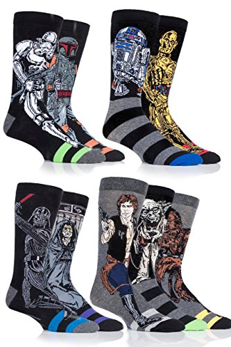 Men's 9 Pair SockShop Star Wars Original Heroes and Villains Cotton Socks - Assorted 13-15 (Best Star Wars Villains)