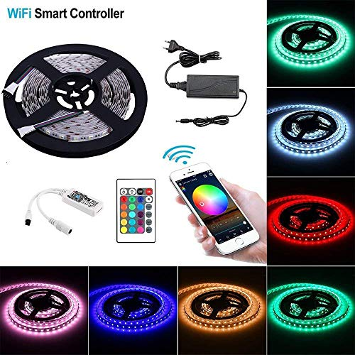 Sumaote 16.4Ft Flexible LED Strip Light Kit SMD 5050 300LEDs RGBW Color Changing Rope Light with WiFi Wireless Controller, 12V 5A Power Supply and 24Key Remote for Home,Living Room,Bedroom - Software Controller Entertainment Professional