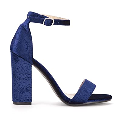 d8095f5f3 Shoe Closet Ladies Navy Blue Baroque Velvet Barely There Strappy Sandals  High Heels UK8/EURO41
