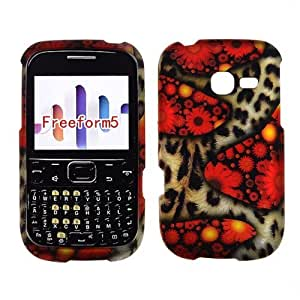 2D Cheetah With Flowers Samsung Freeform 5 R480C U.S.Cellular Case Cover Phone Protector Snap on Cover Case Faceplates