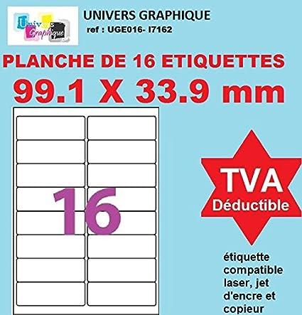 20 A4 hoja de etiqueta de papel etiqueta adhesiva 16 99,1 x 33,9 mm para las impresoras de chorro de tinta y láser