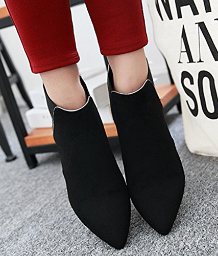 Womens Toe Suede IDIFU Chunky Faux Black Short Pointed Low Heels Ankle Sexy Boots dYqwqt