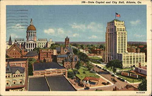 State Capitol and City Hall Atlanta, Georgia Original Vintage Postcard from CardCow Vintage Postcards