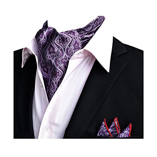 Wedding Xlj Handkerchief Tie 14 Floral Set Silk Purple Ascot Men's Elegant YCHENG Paisley Business Xx0PcRwF
