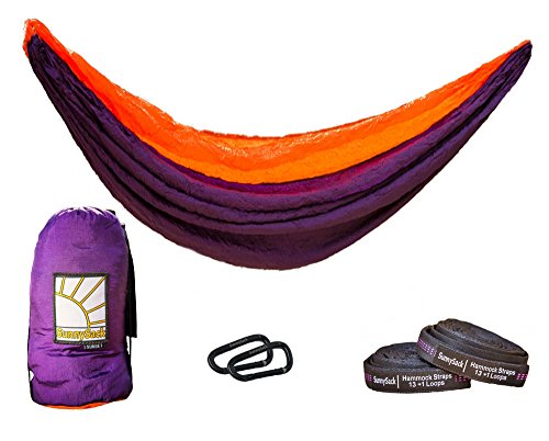 TheSunnysideShoppe SunnySack Lightweight Heavy Duty Parachute Nylon Double Hammock with Tree Straps – Sunset Purple Orange