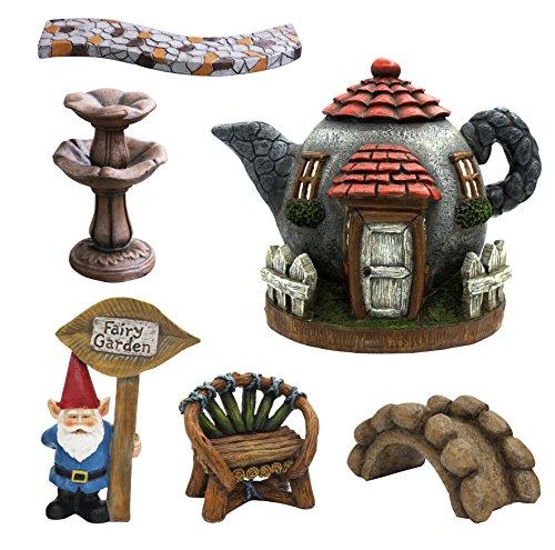 Fairy Garden Kit Accessories 6pcs Set, Miniature Hand Painted Figurine Gnome Statues, for Patio Outdoor Garden Decor