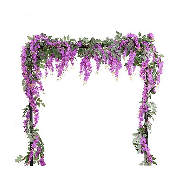 HOMDECO 5.6 Feet/pcs Artificial Silk Wisteria Vine Rattan Silk Hanging Flower Garland Ivy Plants for Outdoor Wedding Party Home Garden Wall Decoration,Pack of 4 (Purple)