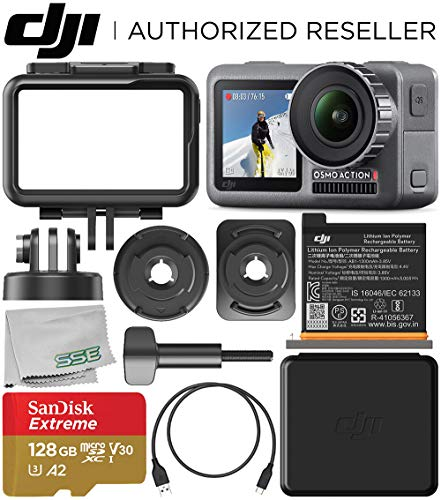 DJI Osmo Action 4K Camera with 128GB Basic Accessory Bundle - Includes: SanDisk Extreme 128GB microSDXC Memory Card (UHS-I / V30 / A2 / U3 / Class-10) + Microfiber Cleaning Cloth