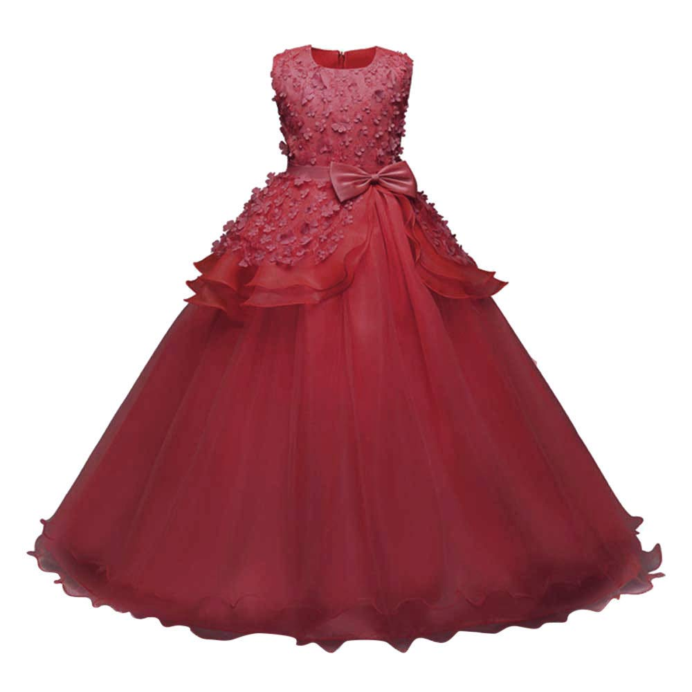 Wenini Floral Girls Princess Dresses Kids SleevelessB ridesmaid Pageant Gown Birthday Party Wedding Dress Red by Wenini