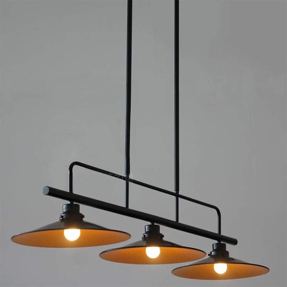 Jiafum Luces de Mesa de Billar rústicas, araña de Metal Industrial Negro para Sala de Estar Mesa de Billar Luces de Isla (3 Cabezas de lámpara) (100 cm): Amazon.es: Hogar