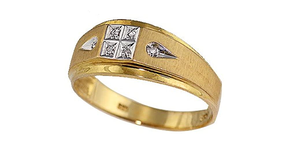 size10 14K Yellow Gold Mens 0.03cttw Diamond Ring