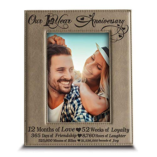 BELLA BUSTA  Our 1st Year Anniversary  Months Week Days Hours Minutes Engraved Leather Picture Frame for CoupleOur 1st 5quotx 7quot Vertical