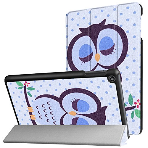 Tri-fold Stand Case for All-New Amazon Fire HD 8 Tablet(7th Generation,2017 Release), iThrough Lightweight Slim PU Leather Case Folding Stand Case Cover for Fire HD 8 with Auto Wake/ Sleep (Owl Tablet Case)