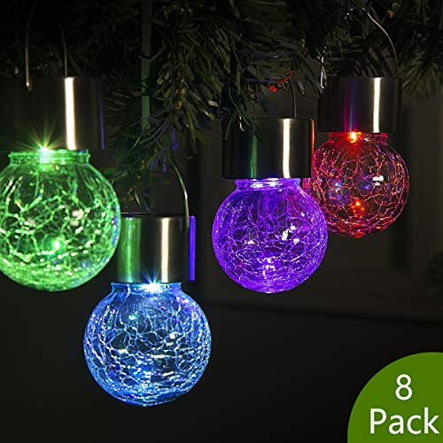 GIGALUMI 8 Pack Hanging Solar Lights Multi-Color Changing Cracked Glass Hanging Ball Lights Waterproof Outdoor Solar Lanterns for Garden, Yard, Patio, -