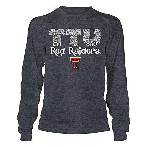 FanPrint Texas Tech Red Raiders T-Shirt - Fight Song Inside Team Name - Longsleeve Tee/Dark Grey/L ()