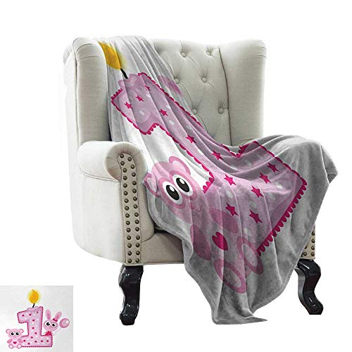 Fur Throw Blanket 1st Birthday,Girls Party Theme with First Candle Bunny and Bear Animals Image,Hot Pink and Lilac Comfortable Soft Material,give You Great Sleep 50