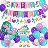 Mermaid Balloons Birthday Party Decorations - Happy Birthday Mermaid Banner with Glitter Mermaid Cake Toppers Fishtail Flag Under The Sea Blue & Purple Balloons Decoration for Girl's Birthday Party and Baby Shower