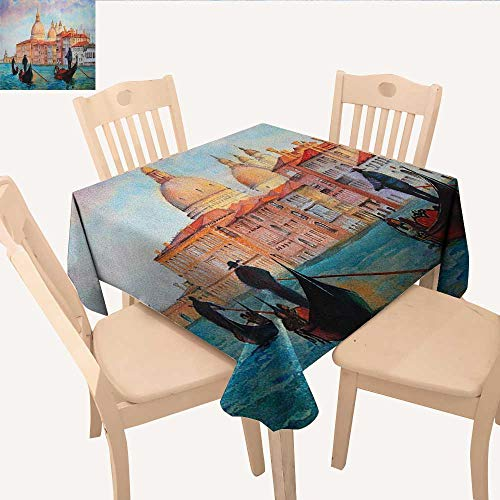 (longbuyer Venice Fabric Tablecloth Watercolor Painting of Venice Serene Cityscape Antique Gondolas Scenic Dining Table Cover Peach Pale Blue Red W 70