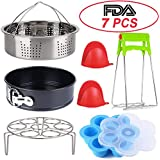 Instant Pot Accessories Set 7 PCS Instant Pot Accessories Compatible with 5 6 8Qt with Steamer Basket Egg Steamer Rack Egg Bites Molds Non-stick Springform Pan 1Bowl Clip 2Silicon Milts,By GREATYAKONN