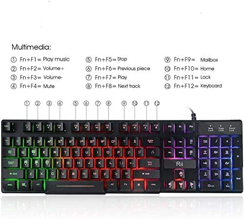 Rii RK100+ Multiple Color Rainbow LED Backlit Large Size usb Wired Mechanical Feeling Multimedia Gaming Keyboard,Office Keyboard For Working or Primer Gaming,Office Device 51My GFm2eL