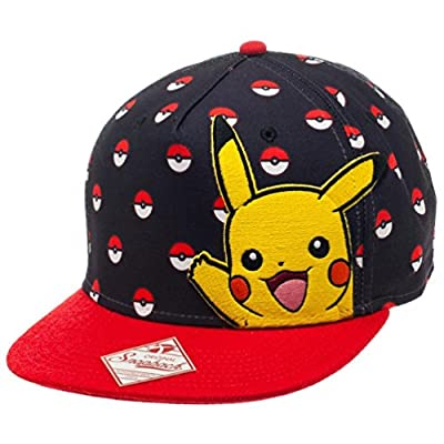 Bioworld Pokemon Pikachu and Poke Ball All Over Black Snapback Hat