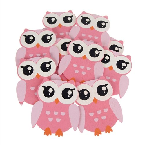 Homeford Firefly Imports Wooden Animal Cutouts, Baby Favors, 5-Inch, 10-Pack, Pink Owl ()
