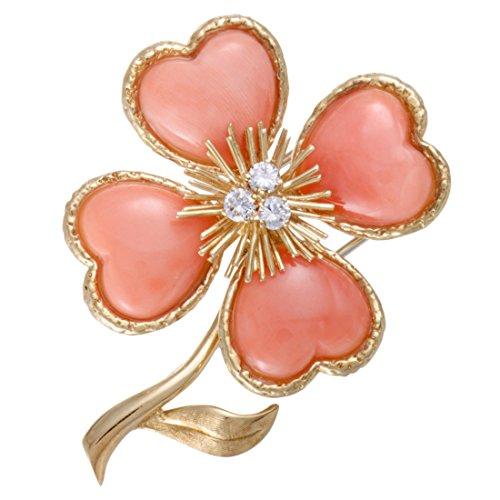 - Van Cleef & Arpels Vintage Rose de Noel 18K Yellow Gold Diamond and Coral Brooch