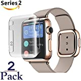 Josi Minea x2 Pcs Apple Watch [38mm] Protective Snap-On Case with Built-in Glass Screen Protector - Anti-Scratch & Shockproof Shield Full Cover for Apple Watch Series 2 [PC Hard Grey] - 38mm [2 Pack]