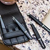 Tweezers Set 4-piece - Tweezer Guru Stainless Steel Slant Tip and Pointed Eyebrow Tweezer Set - Great Precision for Facial Hair, Ingrown Hair, Splinter, Blackhead and Tick Remover