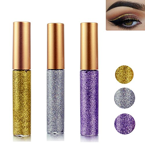 Glitter Liquid Eyeshadow 3 Color Metallic Glitter Sparkling Eyeliner Face Eye Cosmetic Glow Shimmer Makeup Glitter Eye Shadow Long Lasting Sparkling Eyeliner Eye Shadow Gold,Silver and Purple