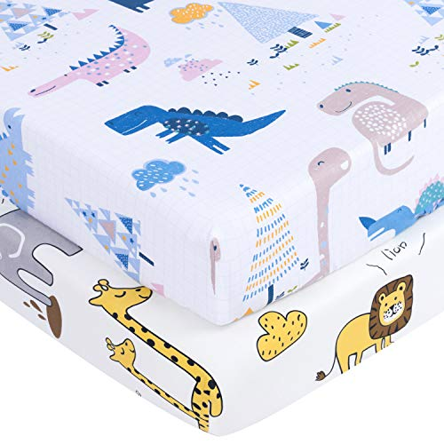 TILLYOU Ultra Soft Dinosaur Crib Sheets Set, 100% Egyptian Cotton Printed Toddler Sheets for Baby Boys Girls, Breathable Hypoallergenic, 28