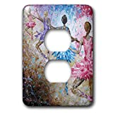 3dRose Art By Mandy Joy - Dancers - A modern impressionist painting of a 4 girls in ballet class. - Light Switch Covers - 2 plug outlet cover (lsp_291490_6)