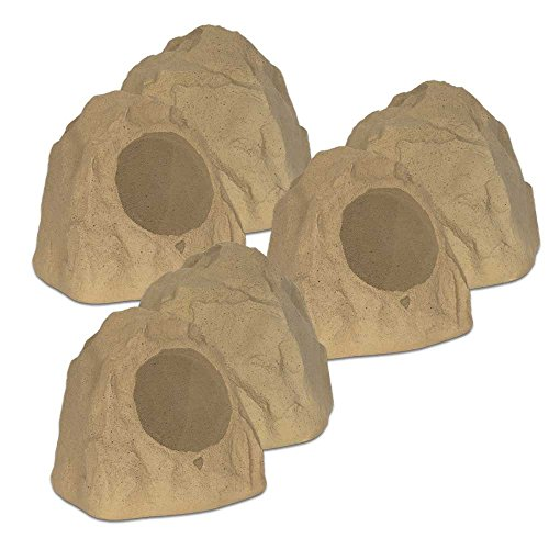 Theater Solutions 6R8S Outdoor Sandstone 8'' Rock 6 Speaker Set for Deck Pool Spa Yard Garden by Theater Solutions