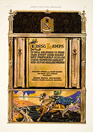 1921 Ad Vintage Crest Lamps Lighting Fixtures Medieval Knight Horse Jousting GF5 - Original Print Ad from PeriodPaper LLC-Collectible Original Print Archive
