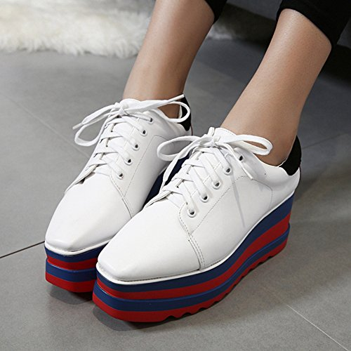 CYBLING Fashion Casual Square Toe Mid Heel Thick Sole Platform Oxford Shoes for Women by CYBLING (Image #2)