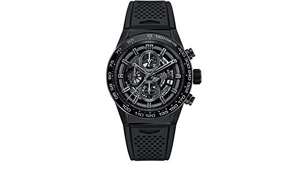Amazon.com: TAG Heuer Carrera Black Skeleton Dial 45mm Mens Watch CAR2A90.FT6071: Watches