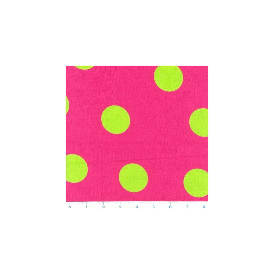 45 Wide Funky Brights Bouncing Dots Hot Pink & Lime Fabric By The Yard