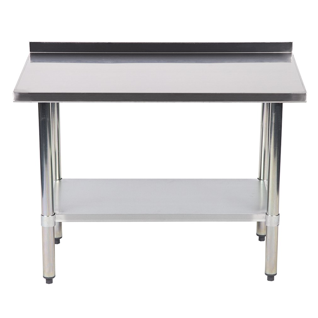 24''x48'' Stainless Steel Work Table with Backsplash Kitchen Restaurant Table EB by BestMassage (Image #1)