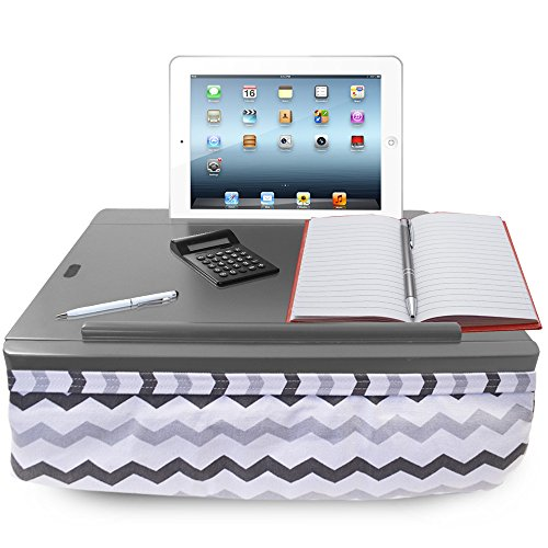 iCozy Portable Cushion Lap Desk with Storage - Grey Chevron ()