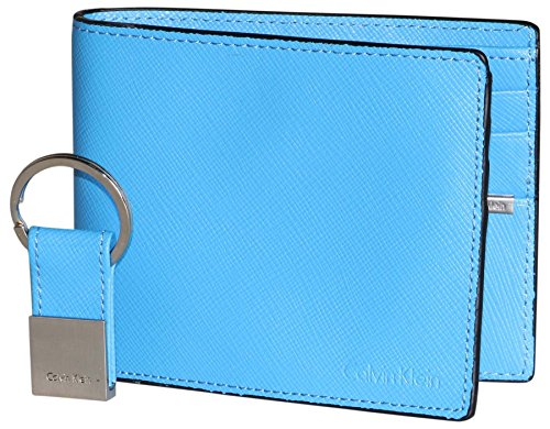 Calvin Klein Men's Leather Bifold Wallet and Key Fob Set-...