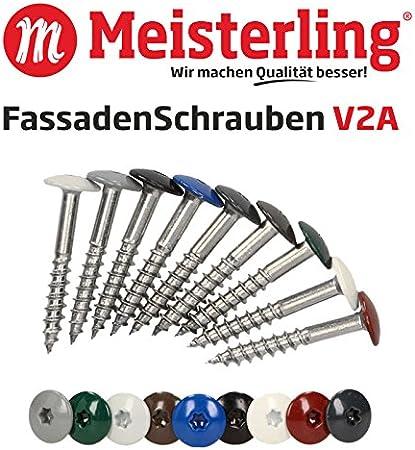 V2a Edelstahl Meisterling/® FassadenSchrauben 4,8 x 38 mm mit Flachkopf