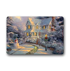 Custom It winter snowman cottage sunset night before Christmas Rectangular Decorative non slip Doormat 15.7 by 23.6 by 3/16-Inch