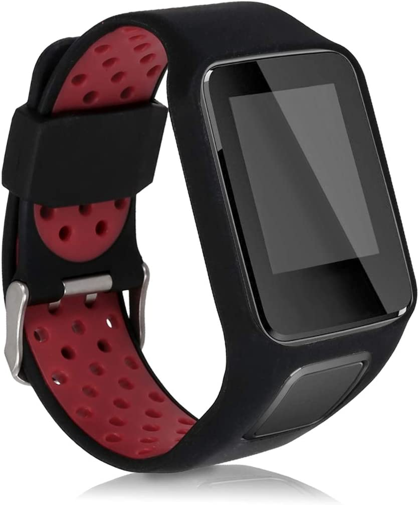 kwmobile Pulsera Compatible con Tomtom Adventurer/Runner 3/Spark 3/Golfer 2 - Brazalete de Silicona en Negro/Rojo sin Fitness Tracker