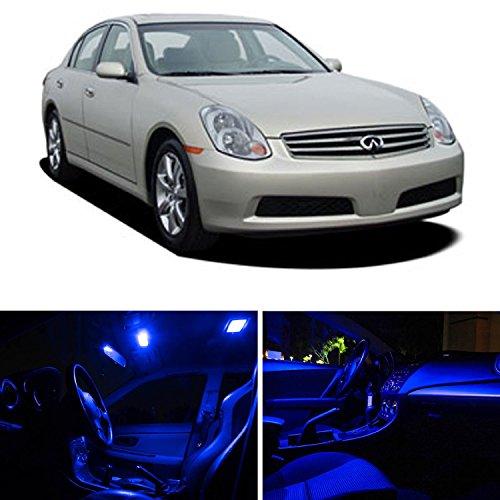 cciyu 11x LED Super Blue Light Interior Package kit Replacement fit for 2003-2006 Infiniti G35 Sedan