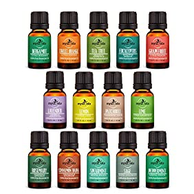 Myüz Oils Aromatherapy Pure Essential Oil Set - Bergamot,Spearmint,Lemon,Tea Tree,Patchouli Dark,Grapefruit,Peppermint,Cinnamon Bark,Eucalyptus,Sweet Orange,Lavender,Lime,Rosemary,Sage (14) 10mL