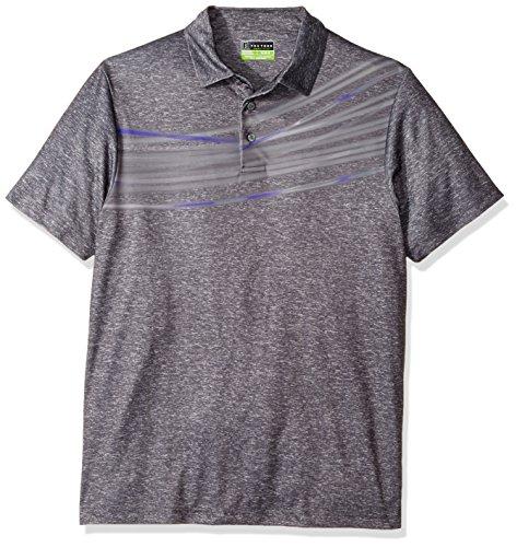 Kinetic Swing Arm (PGA TOUR Men's Short Sleeve Chest Print Polo Shirt, Kinetic Heather Asphalt, M)