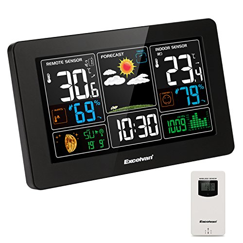Excelvan Digital Wireless Weather Station With Large Lcd Color Display  Barometer For Weather Forecast With Indoor And Outdoor Sensor  Temperature Humidity Monitor  Alarm Clock  Black
