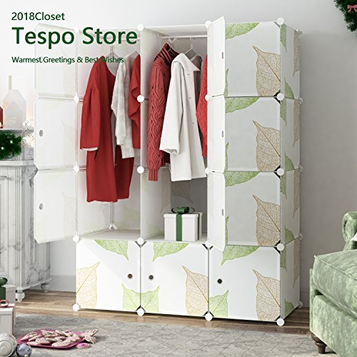 Tespo Portable Clothes Closet Wardrobe, DIY Modular Storage Organizer, Sturdy Construction, Deeper Cubes with Hanging Rods Leaf White … (12 Cubes)
