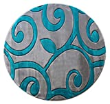 Masada Rugs Sophia Collection Hand Carved Round Area Rug Modern Contemporary Grey Turquoise (8 Feet X 8 Feet) Round