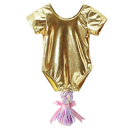 Braid Infants (GBSELL Baby Girls Newborn Infant Cartoon Braid Tail Romper Clothes Outfits (24M, Gold))